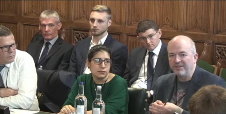 Martin Hamilton (right) joins witnesses in House of Commons committee meeting