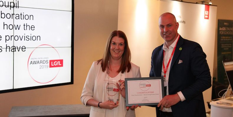 Exning Primary accepted the new cloud transformation award from LGfL for their innovative use of G Suite