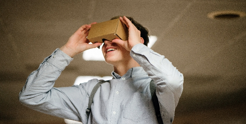 virtual-reality-vr-cardboard-headset-school-student-stock