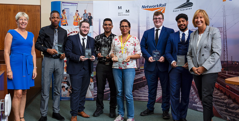 The finalists receive their award. (From L-R) Cathy Travers, Mott MacDonald regional general manager, Ainsworth Miller, Jordan Trimble, Kevin Kumbuckal, Bee Narga-Martin, Laurence Way, Mark Bhagwandeen and Dyan Crowther, CEO of High Speed 1.