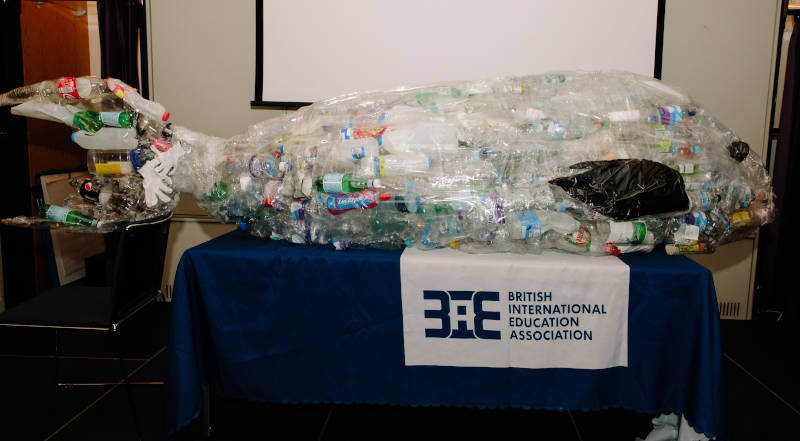 At the launch, a giant marine animal made from plastic bottles offered a visual reminder of the issue at hand