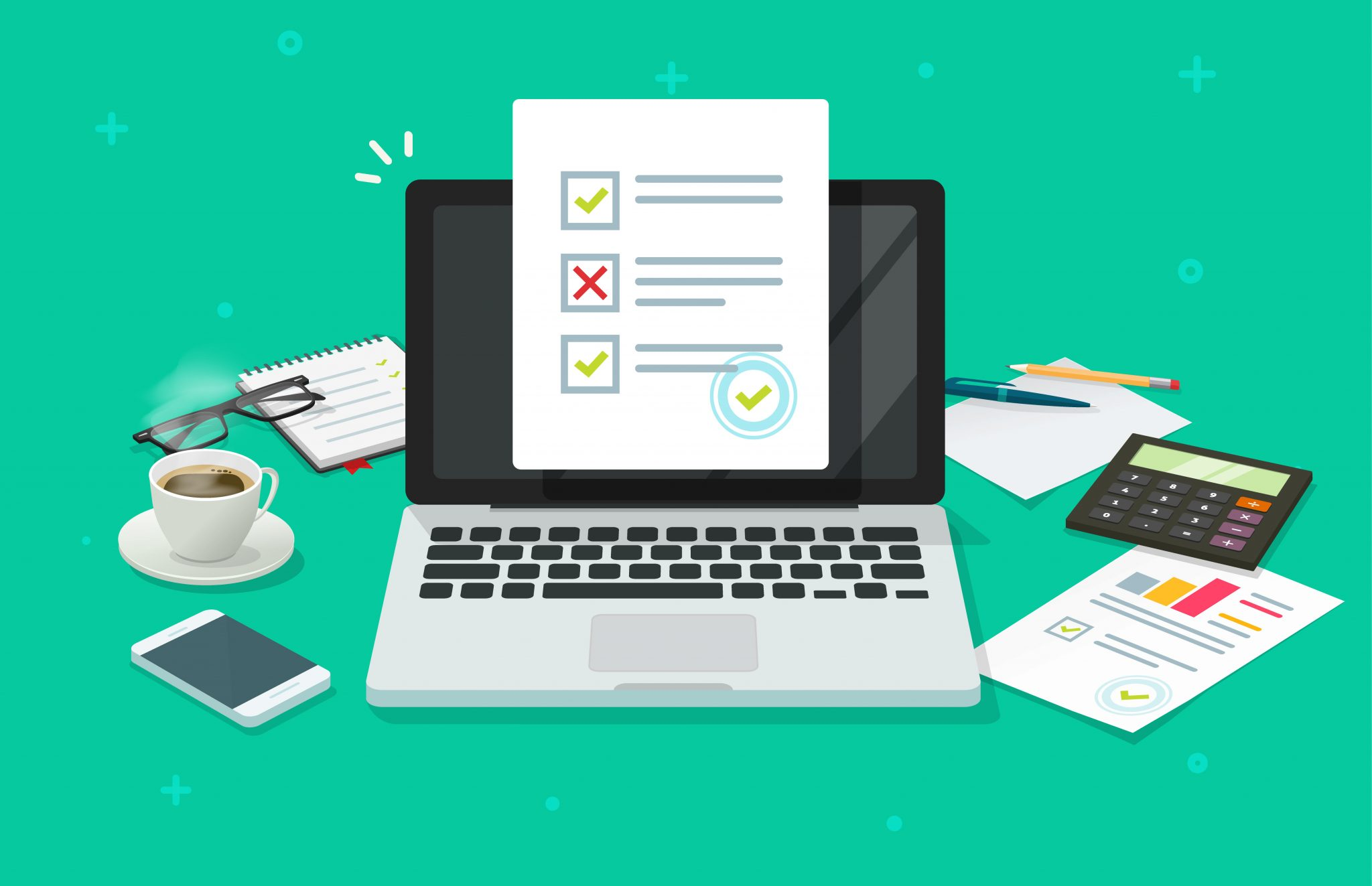 Online form survey on laptop vector illustration, working on computer quiz exam paper sheet document, on-line questionnaire results on desktop table flat cartoon, digital check list or internet test